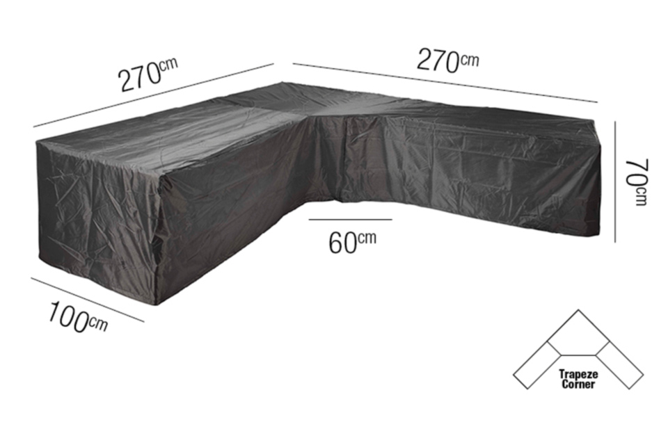 AeroCover | Loungesethoes 270 x 270 x 100 x 71(h) cm | L-vorm Trapeze