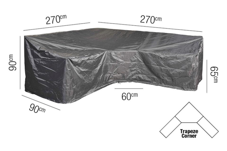 AeroCover | Loungesethoes 270 x 270 x 90 x 65-90(h) cm | L-vorm Trapeze