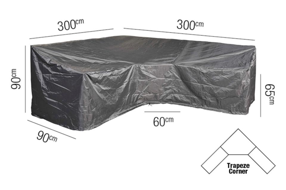 AeroCover | Loungesethoes 300 x 300 x 90 x 65-90(h) cm | L-vorm Trapeze
