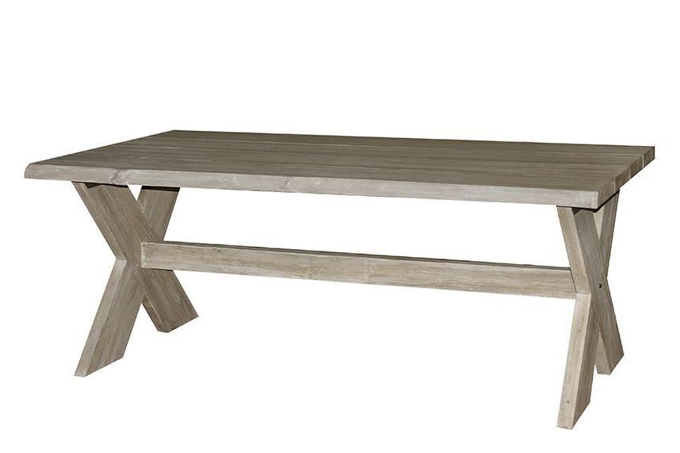 Fonteyn   Tuintafel Cross Half Log 200x100cm   Vergrijsd Teak