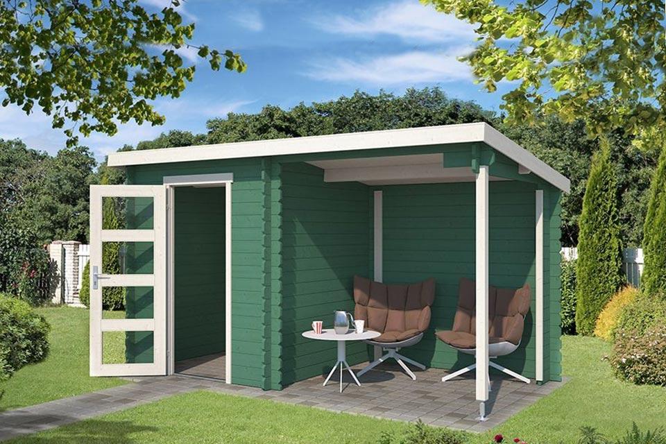 Outdoor Life Products | Tuinhuis met Overkapping Jelle 370 x 175 | Gecoat | Jungle Green-Wit