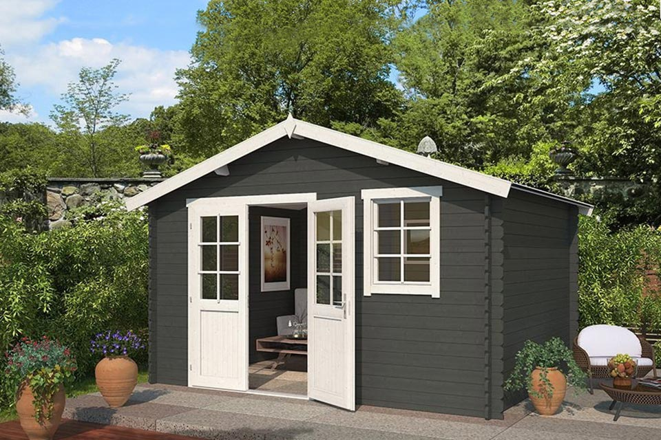 Outdoor Life Products | Tuinhuis Arvid 380 x 300 | Gecoat | Carbon Grey-Wit