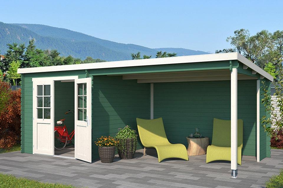 Outdoor Life Products | Tuinhuis met Overkapping Sunniva 570 x 275 | Gecoat | Jungle Green-Wit