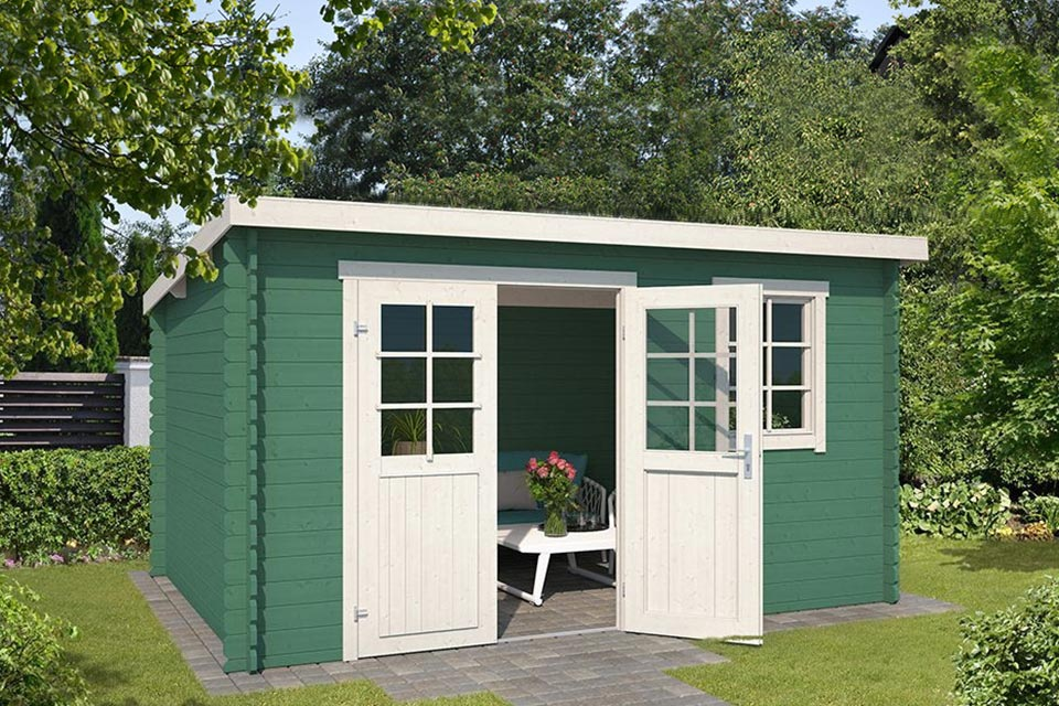 Outdoor Life Products | Tuinhuis Amira 380 x 275 | Gecoat | Jungle Green-Wit