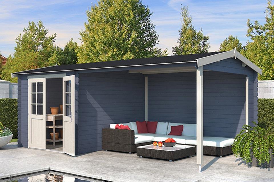 Outdoor Life Products | Tuinhuis met Overkapping Karyna 570 x 275 | Gecoat | Pigeon Blue-Wit