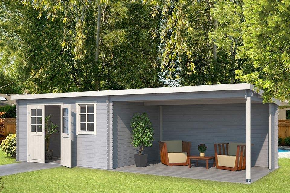 Outdoor Life Products | Tuinhuis met Overkapping Aida 760 x 275 | Gecoat | Platinum Grey-Wit