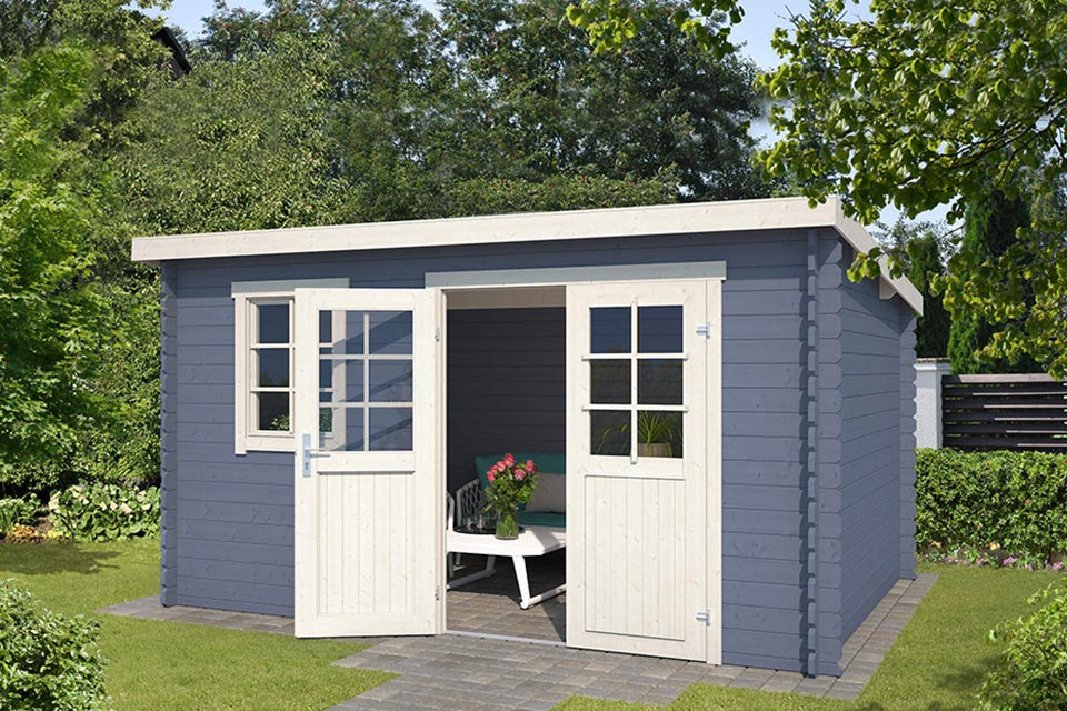 Outdoor Life Products | Tuinhuis Amira 380 x 230 | Gecoat | Pigeon Blue-Wit