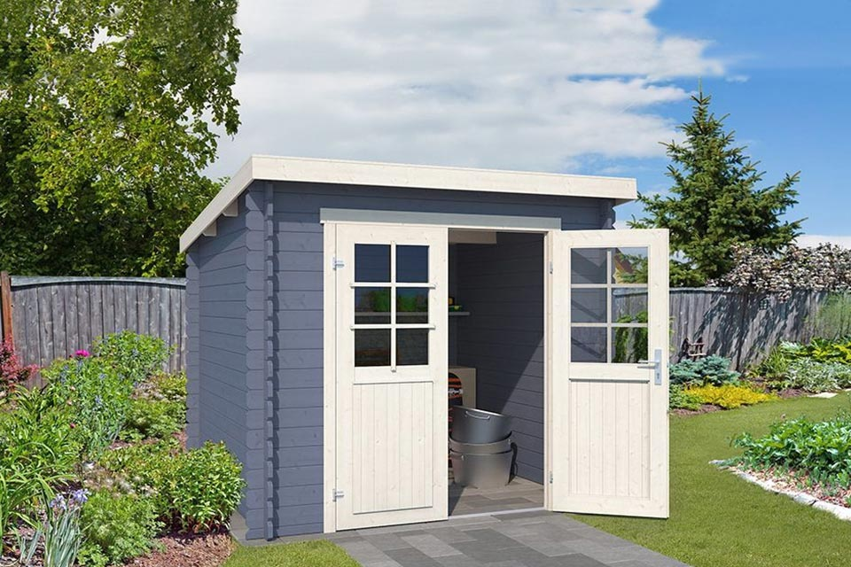 Outdoor Life Products | Tuinhuis Indi 230 x 175 | Gecoat | Pigeon Blue-Wit