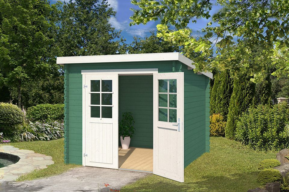 Outdoor Life Products | Tuinhuis Indi 230 x 230 | Gecoat | Jungle Green-Wit
