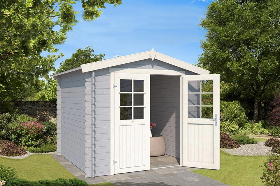 Outdoor Life Products | Tuinhuis Ingo 230 x 175 | Gecoat | Platinum Grey-Wit