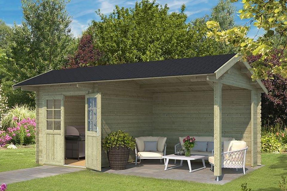 Outdoor Life Products | Tuinhuis met Overkapping Kenzo 540 x 300 | Geïmpregneerd | Olijfgroen