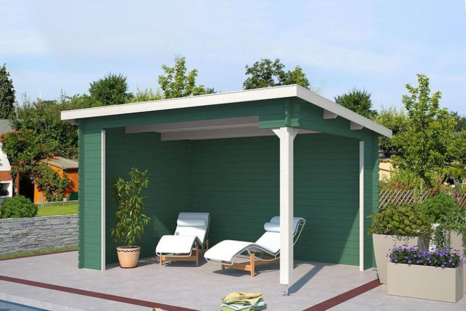 Outdoor Life Products | Overkapping Lara 380 x 275 | Gecoat | Jungle Green-Wit