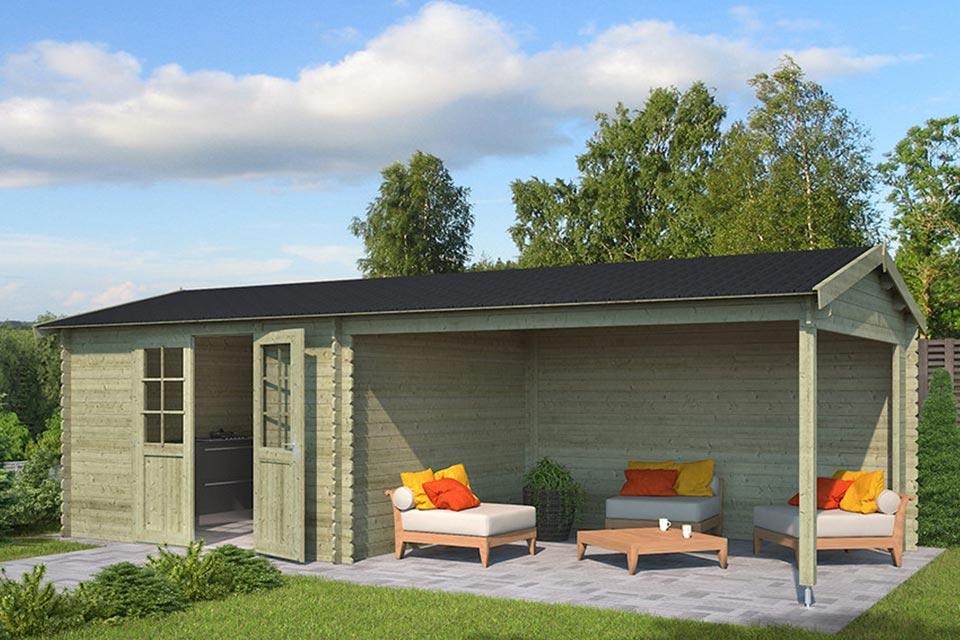 Outdoor Life Products | Tuinhuis met Overkapping Madita 710 x 330 | Geïmpregneerd | Olijfgroen
