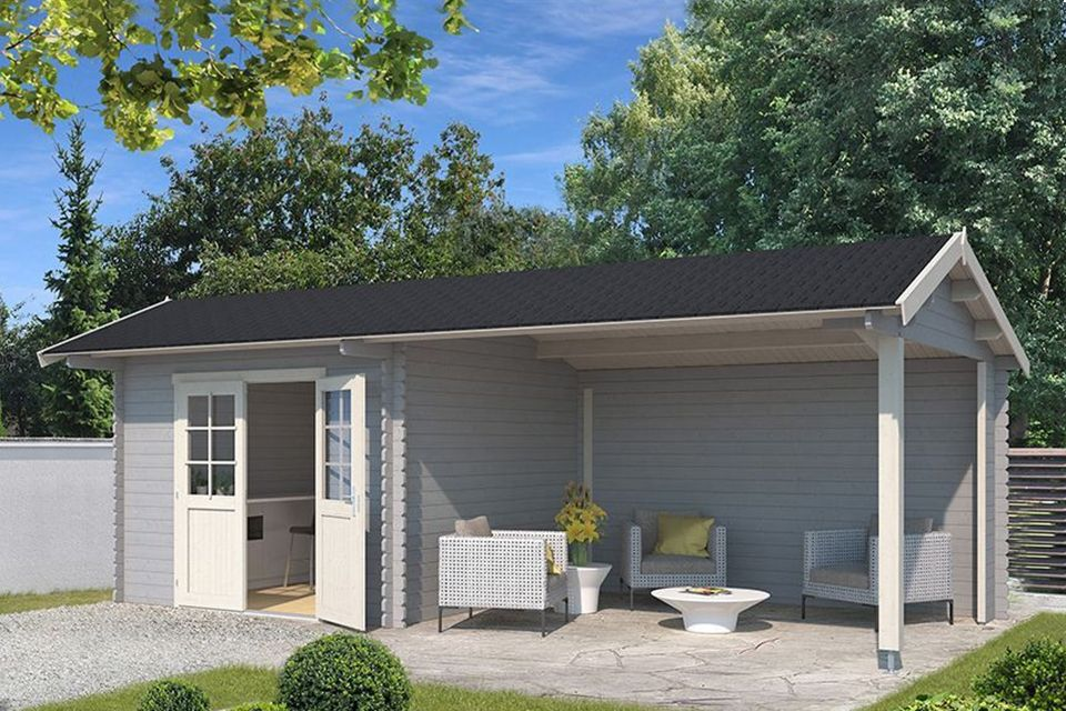 Outdoor Life Products | Tuinhuis met Overkapping Maribel 680 x 300 | Gecoat | Platinum Grey-Wit