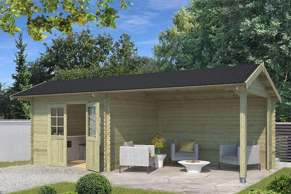 Outdoor Life Products | Tuinhuis met Overkapping Maribel 680 x 300 | Geïmpregneerd | Olijfgroen