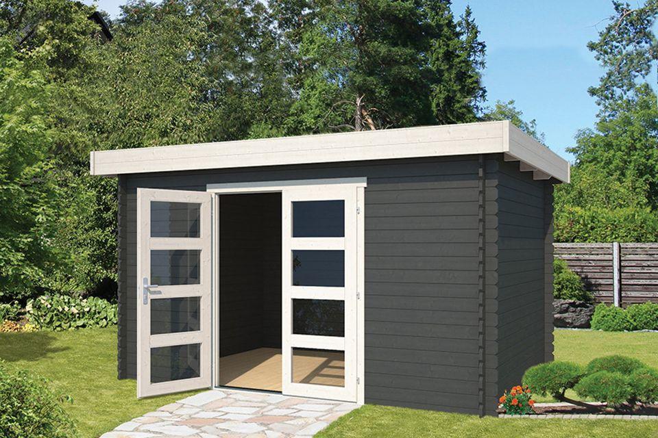 Outdoor Life Products | Tuinhuis Mikkel 380 x 275 | Gecoat | Carbon Grey-Wit