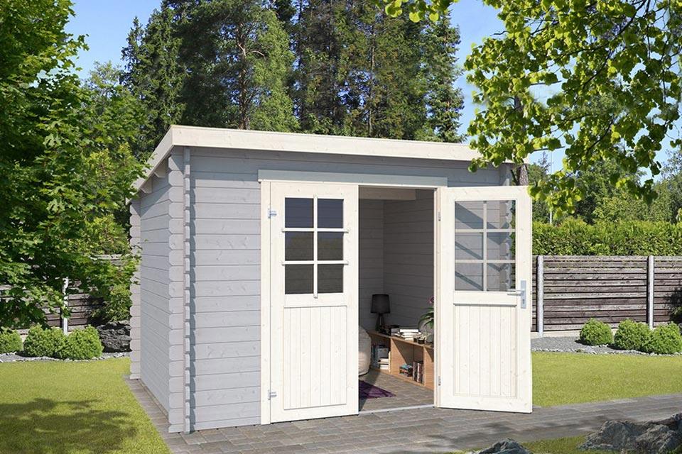 Outdoor Life Products | Tuinhuis Nadia 275 x 230 | Gecoat | Platinum Grey-Wit