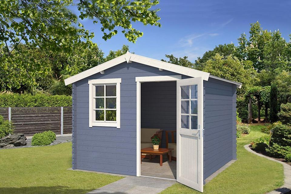Outdoor Life Products | Tuinhuis Nina 275 x 230 | Gecoat | Pigeon Blue-Wit