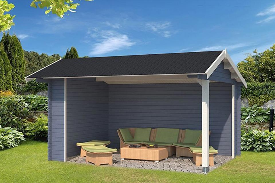 Outdoor Life Products | Overkapping Rosea 425 x 300 | Gecoat | Pigeon Blue-Wit