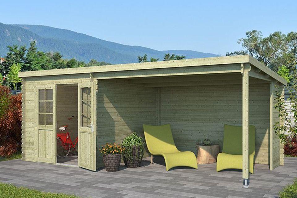Outdoor Life Products | Tuinhuis met Overkapping Sunniva 570 x 275 | Geïmpregneerd | Olijfgroen
