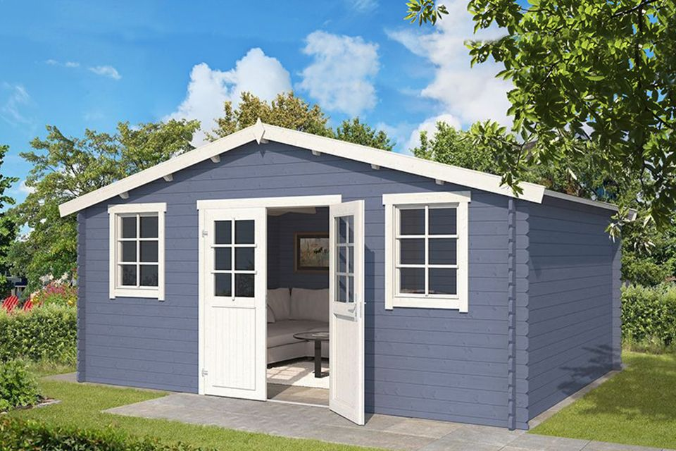 Outdoor Life Products | Tuinhuis Udo 480 x 300 | Gecoat | Pigeon Blue-Wit