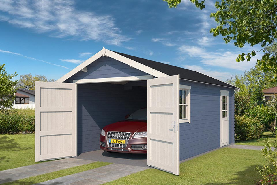 Outdoor Life Products | Garage Yarik 380 x 540 | Gecoat | Pigeon Blue-Wit