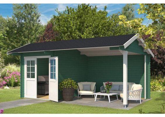Outdoor Life Products | Tuinhuis met Overkapping Kenzo 540 x 300 | Gecoat | Jungle Green-Wit