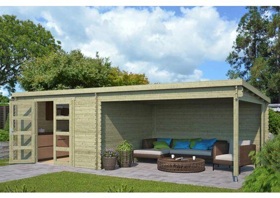 Outdoor Life Products | Tuinhuis met Overkapping Olenka 710 x 330 | Geïmpregneerd | Olijfgroen