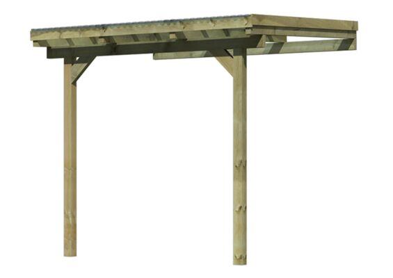 Karibu | Overkapping Model 1 | Grootte A | 244 x 235 x 239 cm |Hogedruk Geimpregneerd