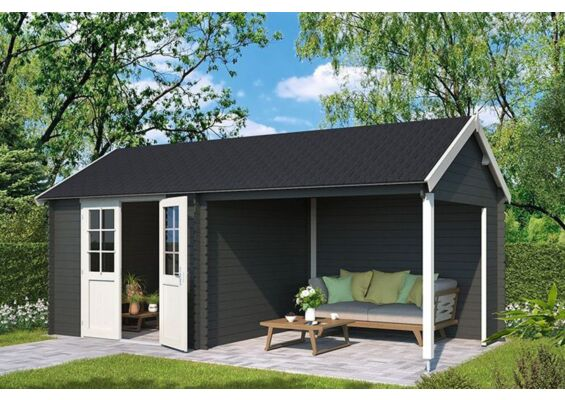 Outdoor Life Products | Tuinhuis met Overkapping Fraya 570 x 275 | Gecoat | Carbon Grey-Wit