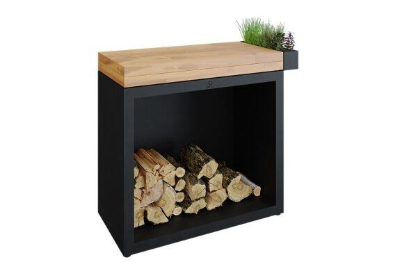 OFYR   Butcher Block Storage 90   Black - Teak Wood
