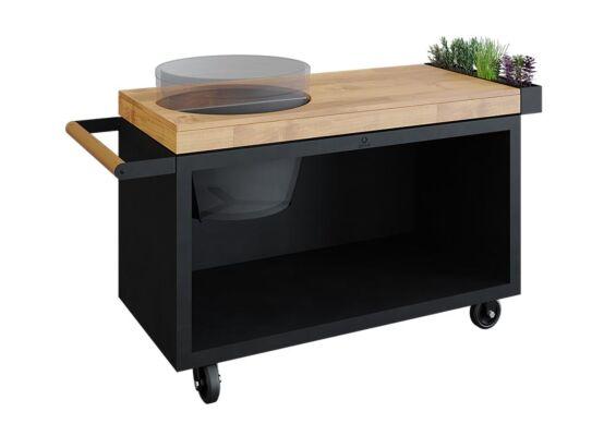 OFYR   Kamado Table PRO   Black - Teak Wood   BGE