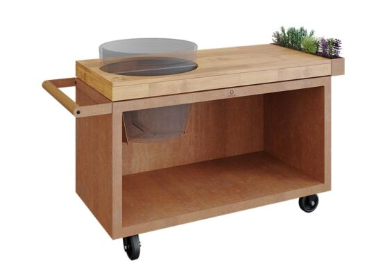 OFYR   Kamado Table PRO   Corten - Teak Wood   BGE