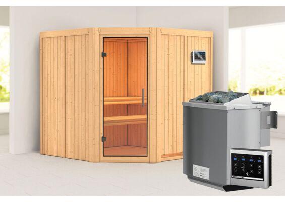 Karibu | Sauna Jarin | Helderglas | Biokachel 9 kW Externe Bediening