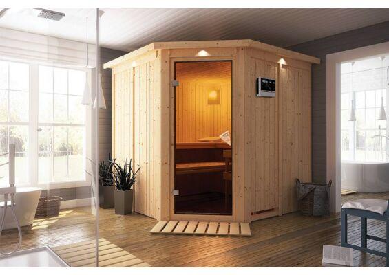 Karibu | Sauna Jarin met Dakkraag | Bronzeglas | Kachel 9 kW Externe Bediening