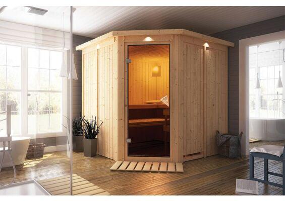 Karibu | Sauna Jarin met Dakkraag | Bronzeglas | Kachel 9 kW Geïntegreerde Bediening