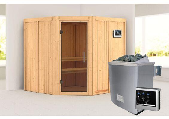 Karibu | Sauna Jarin | Antracietglas | Biokachel 9 kW Externe Bediening