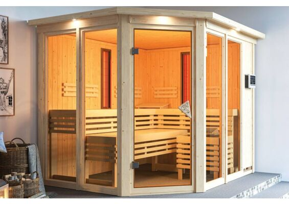 Karibu   Sauna Ava met Dakkraag   Biokachel 9 kW Externe Bediening