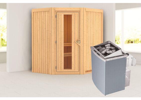 Karibu   Sauna Taurin   Bronzeglas   Kachel 4,5 kW Geïntegreerde Bediening