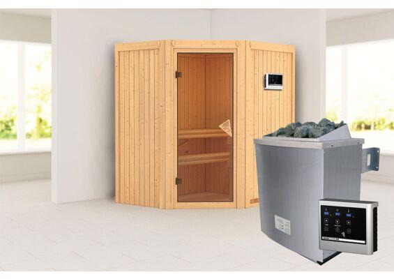 Karibu   Sauna Taurin   Bronzeglas   Biokachel 4,5 kW Externe Bediening