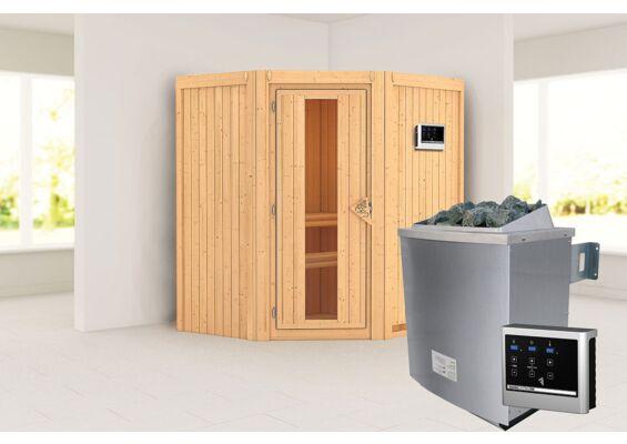 Karibu   Sauna Taurin   Energiesparend   Biokachel 4,5 kW Externe Bediening