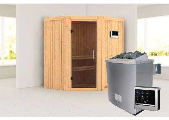 Karibu   Sauna Taurin   Helderglas   Kachel 4,5 kW Geïntegreerde Bediening