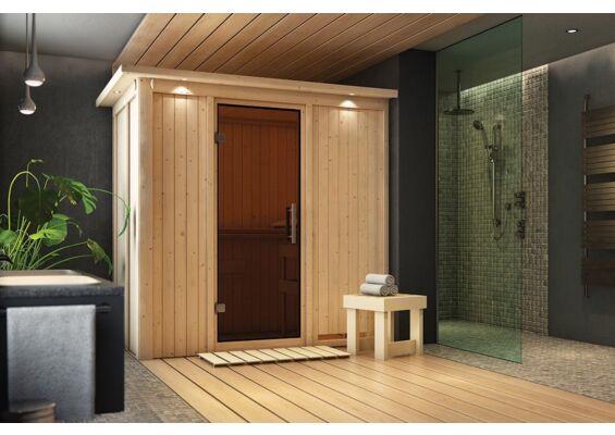 Karibu   Sauna Variado met Dakkraag   Antracietglas   Kachel 4,5 kW Geïntegreerde Bediening