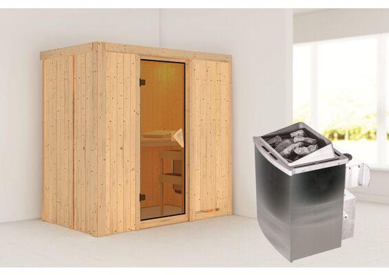 Karibu   Sauna Variado   Bronzeglas   Kachel 4,5 kW Geïntegreerde Bediening