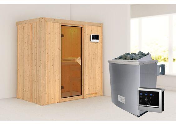 Karibu   Sauna Variado   Bronzeglas   Biokachel 4,5 kW Externe Bediening