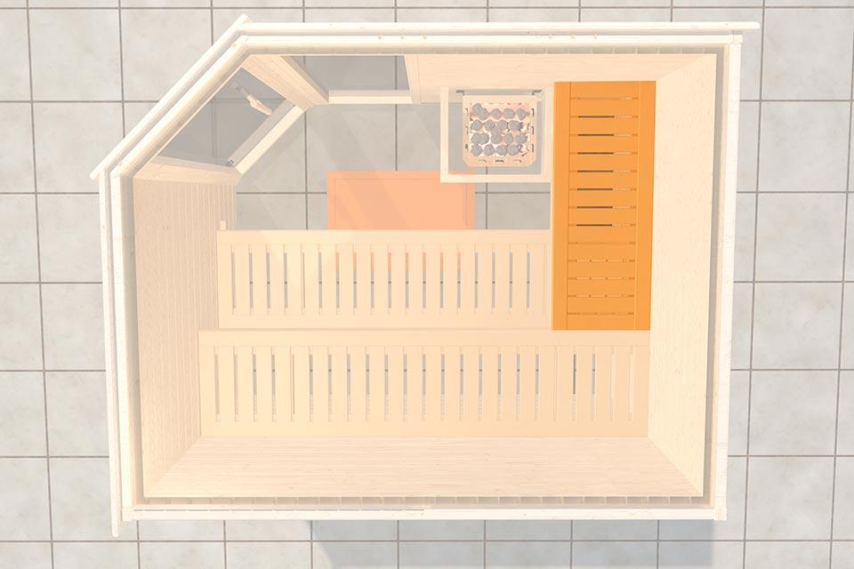 Weka | Saunabank Voor Saunadiepte 144-148 cm