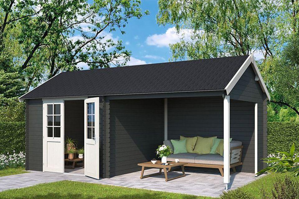 Outdoor Life Products | Tuinhuis met Overkapping Fraya 570 x 275 | Gecoat | Carbon Grey-Wit