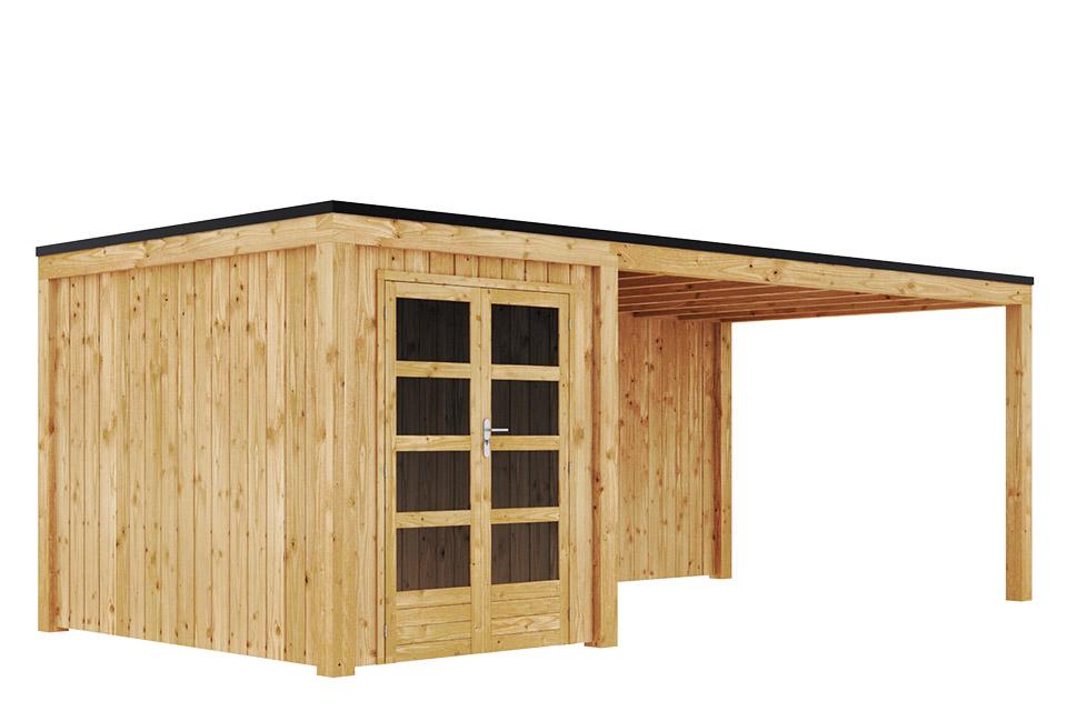 Duxwood   Tuinhuis Garden Design 140   200 x 300 cm met Luifel 450 cm   Vuren