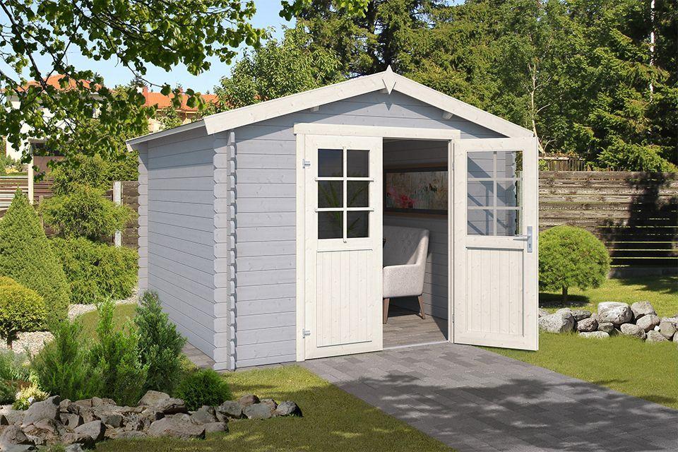 Outdoor Life Products | Tuinhuis Norah 275 x 230 | Gecoat | Platinum Grey-Wit