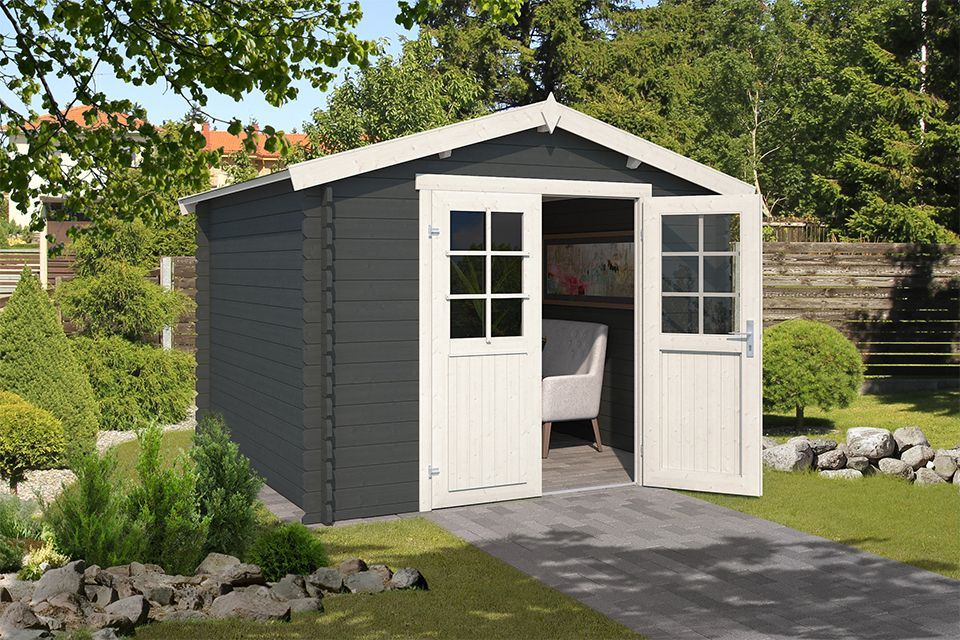 Outdoor Life Products | Tuinhuis Norah 275 x 275 | Gecoat | Carbon Grey-Wit